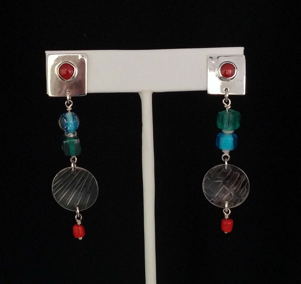 Patina Earrings with Colored Beads