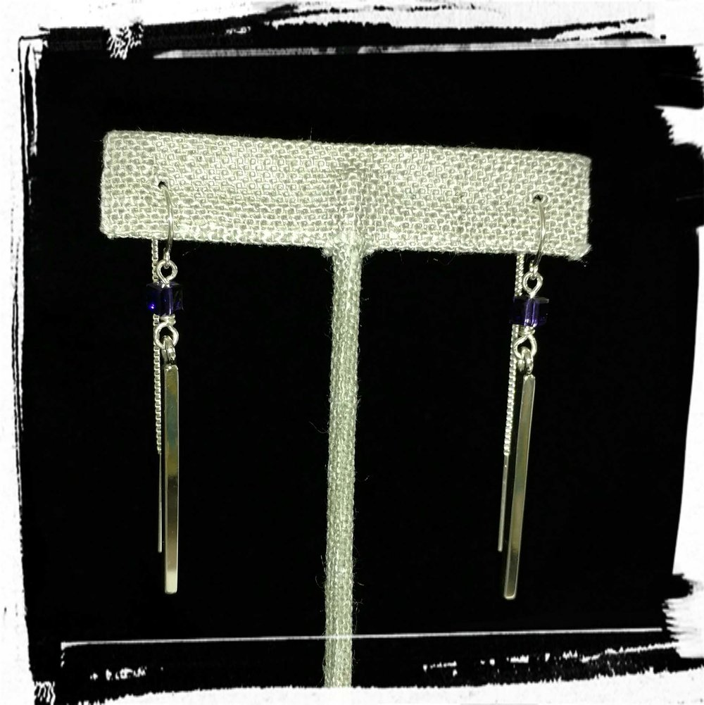 Purple Square Earrings