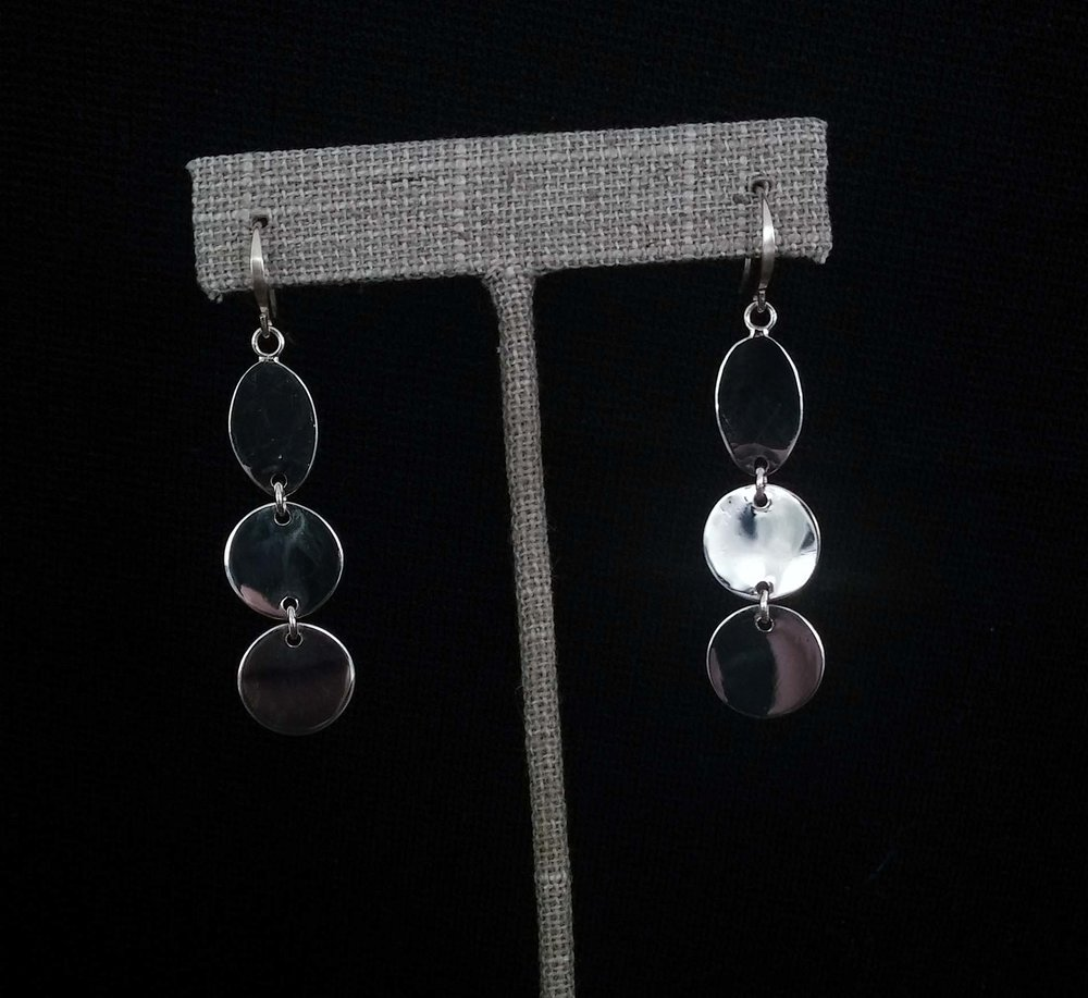 Silver 3 Disc Earrings