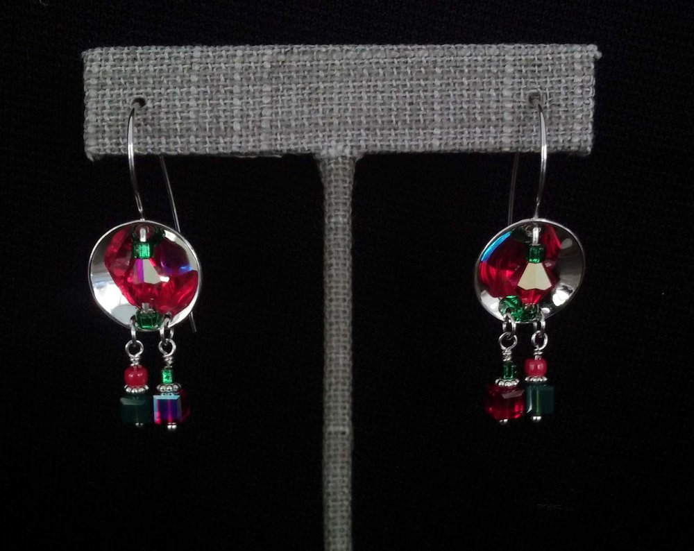 Silver Discs with Green and Red Beads