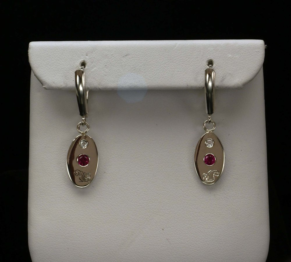 Silver Engraved Ruby Earrings