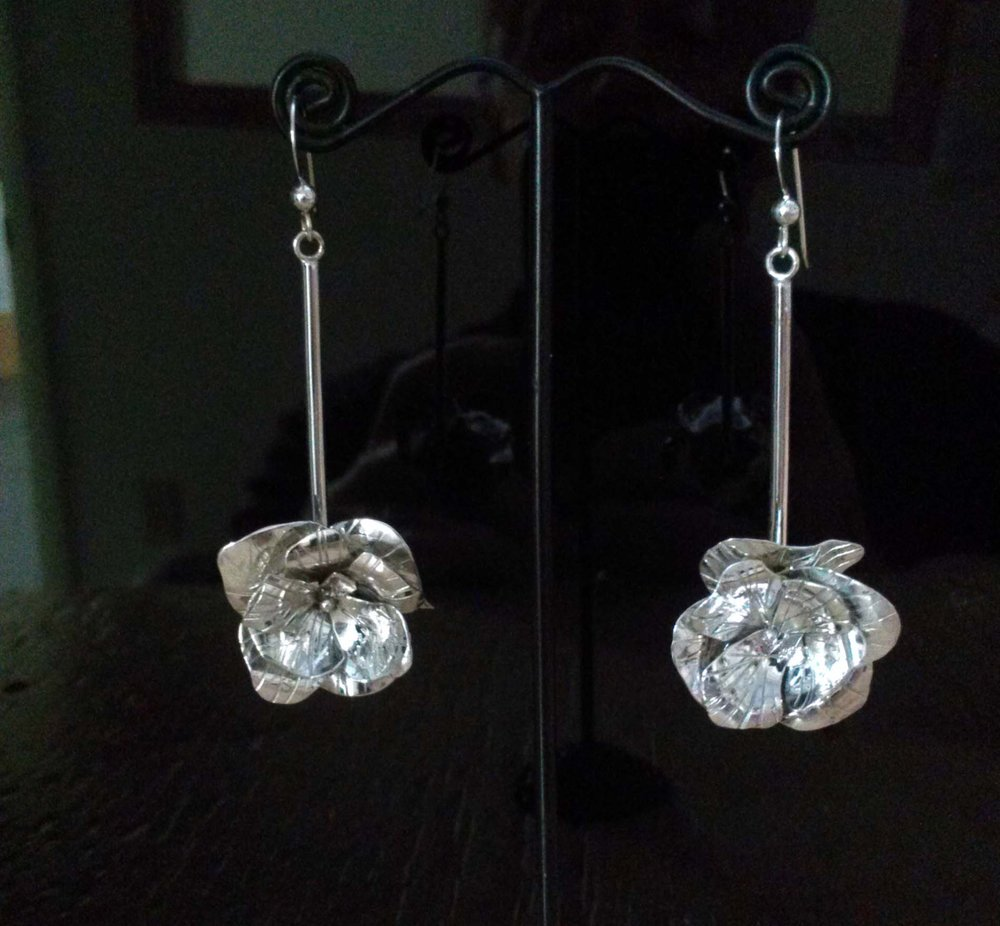 Silver Rose Dangle Earrings