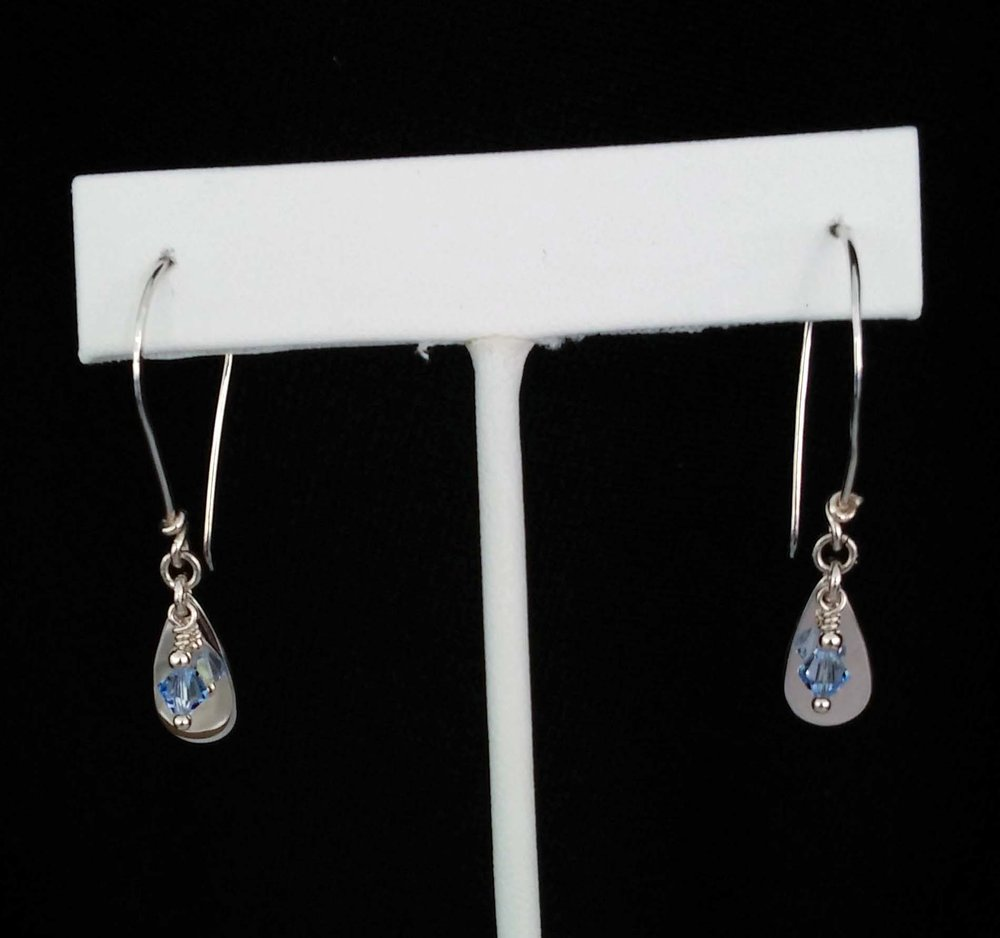 Small Teardrop Earrings with Blue Beads