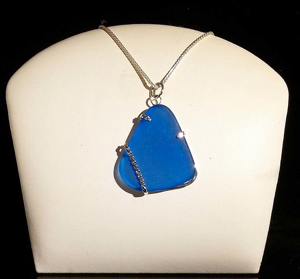 Blue Seaglass Pendant