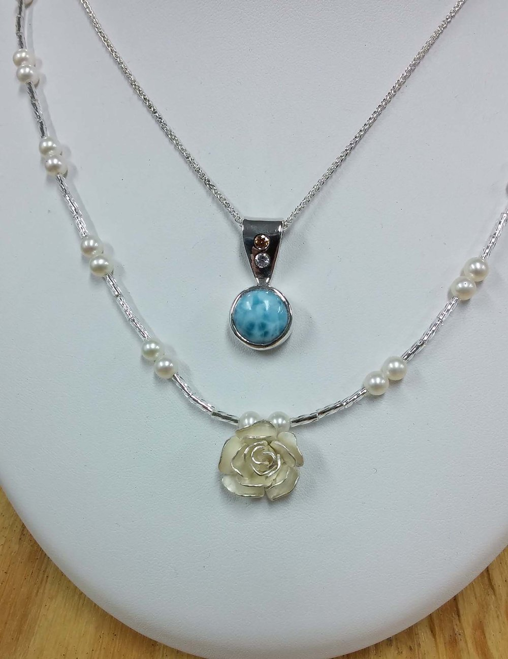 Larimar White Rose Pendants