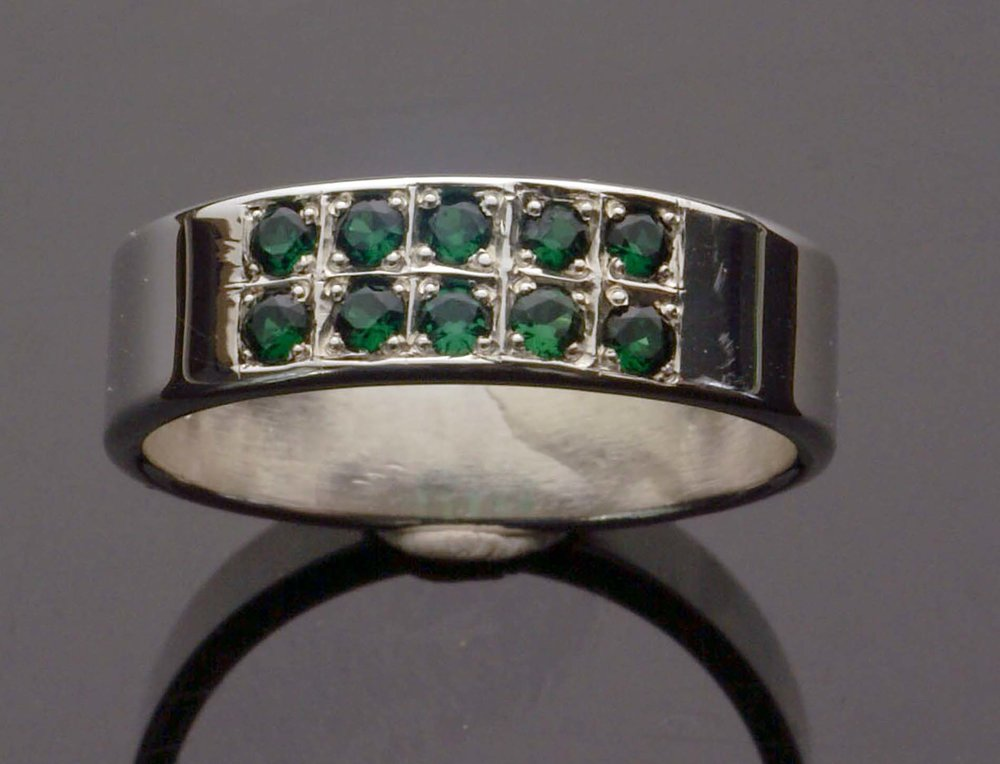 Emerald Ring - 2 Row Paved Style