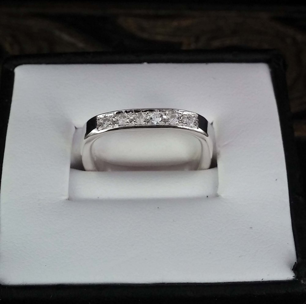 Round Square Ring - Pave Style Setting