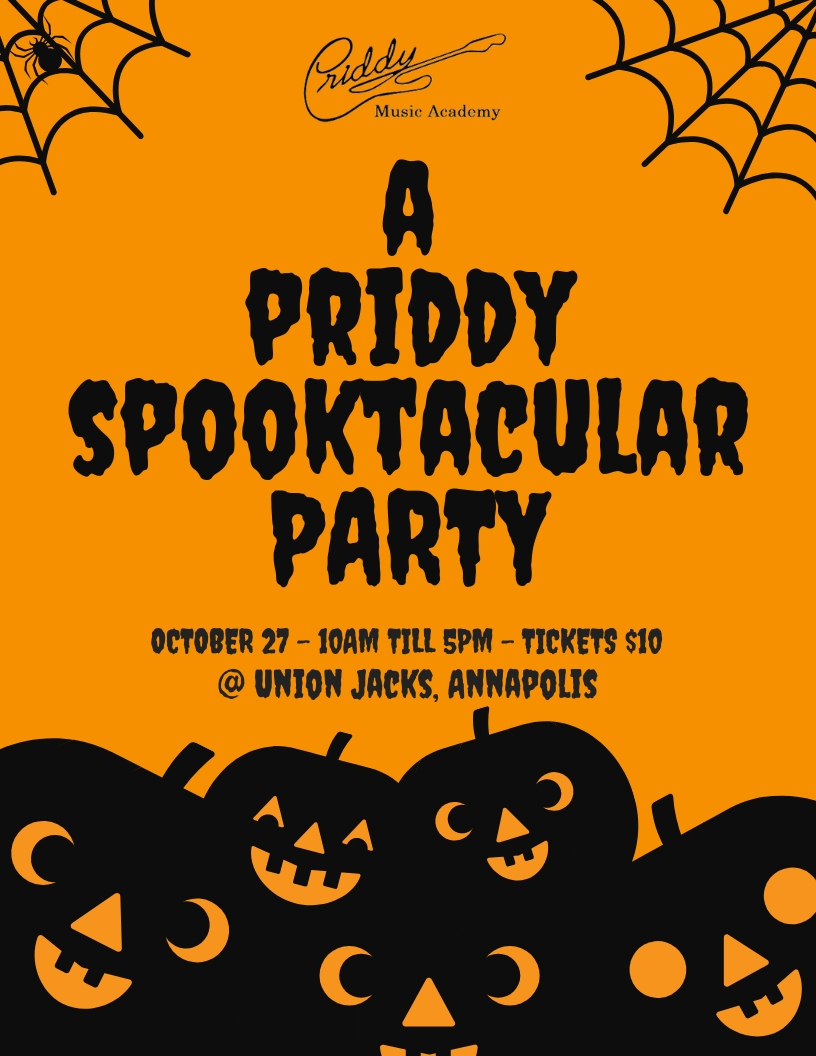 A Priddy SpooktacularParty - Join Us for our Spooktacular Party at Union Jacks, Annapolis on October 27th 10am - 5pm.Tickets are $10 each and are available by clicking the button below,Please reference 'Spooktacular Party'