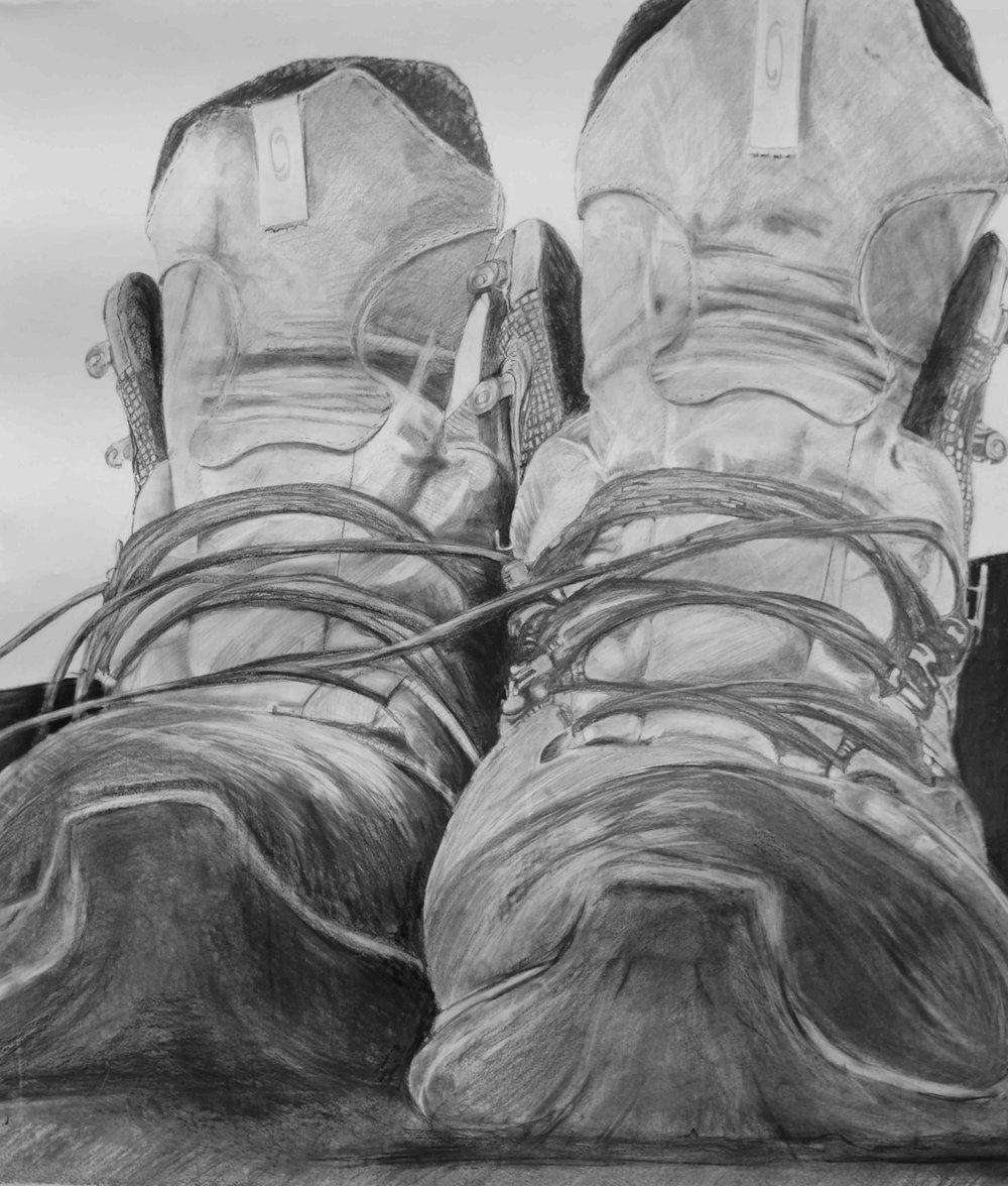 """Boots Study (2013)  38""""x57"""", graphite and charcoal on paper"""