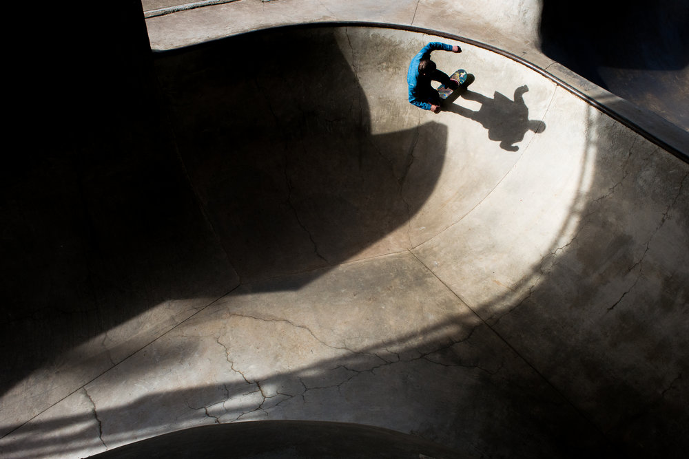 Skateboarder Matt Rudstrom rides the side of a pipe while practicing at Kirtsis Skatepark in Lincoln City on Monday, April 3.