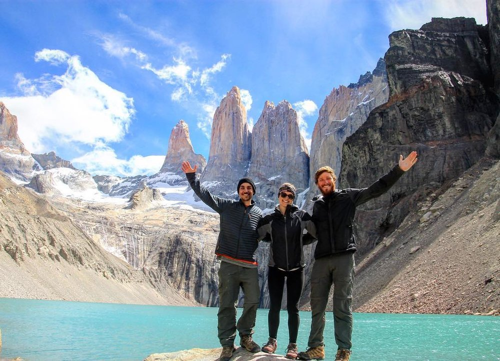 Colin (left) with his girlfriend and friend becoming one with nature in Torres Del Paine National Park, Chile.