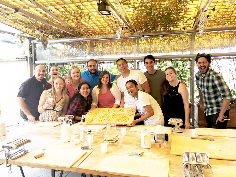 Colin (third in from the right) and his group after the Pasta Making Class in Rome. That's Marco, his Tour Director, on the far right.