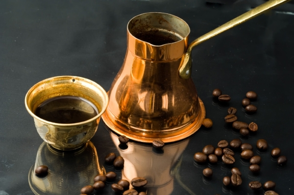 Coffee made by combining finely ground coffee, water, and sugar, and then boiling it.