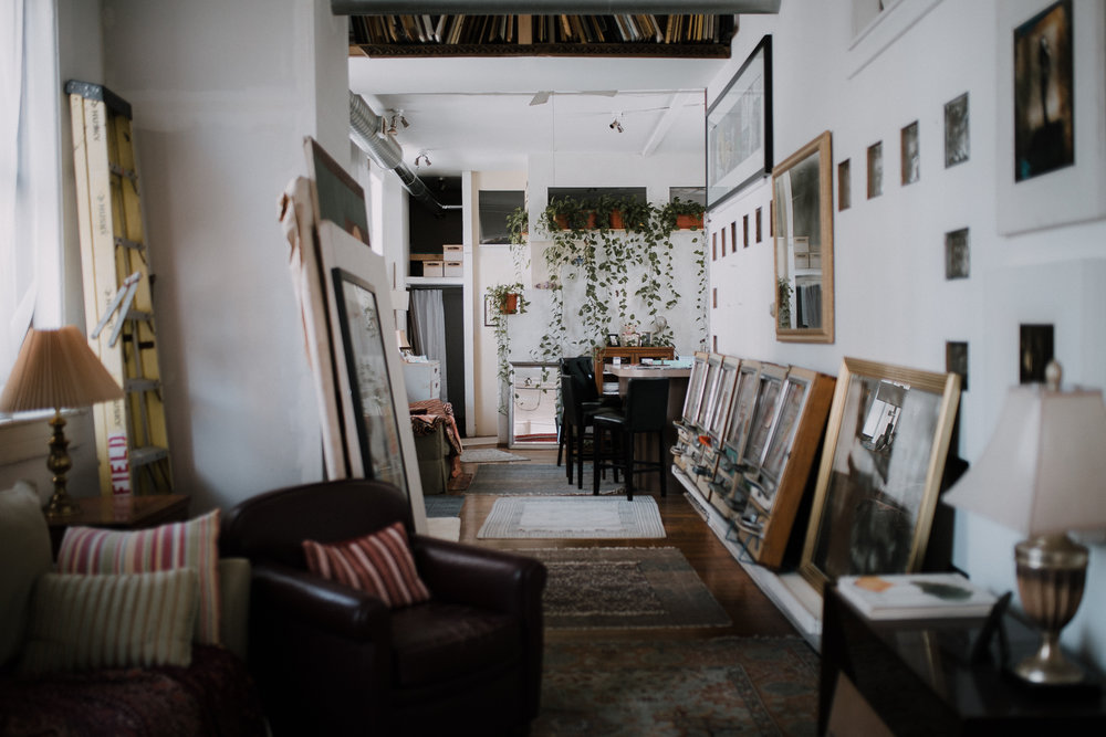 plants + antique collectibles + framed works of art