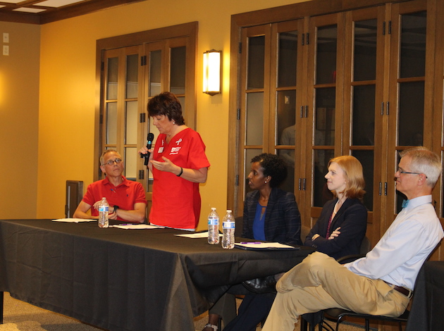 Town hall panelists (from left to right): Tim Stanley, senior director of public affairs, Planned Parenthood of Minnesota, North Dakota and South Dakota; Rose Roach, executive director, Minnesota Nurses Association; Amira Adawe, legislative liaison, Minnesota Department of Health; Dr. Lindsey Yock, pediatric hospitalist and adjunct attorney, Children's Hospitals and Clinics of Minnesota; DFL state Sen. John Marty, of St. Paul