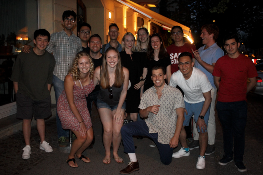 Ahmed and the Summer 2018 Berlin cohort at their welcome dinner.