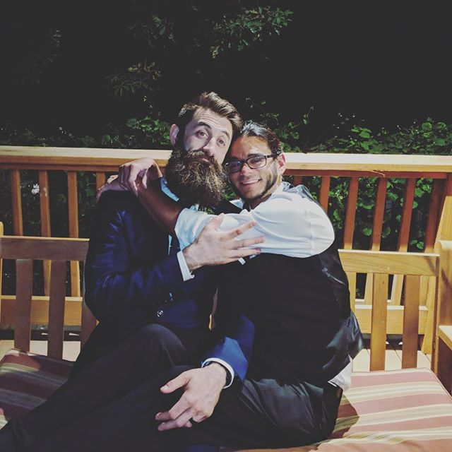 Congrats to our artist Paul for getting married this weekend to his lovely wife Maureen. Heres this sweet photo of artist and programmer celebrating the festivities. #gettinghitched #studiofire #celebrate #indiedevs #congratspaul