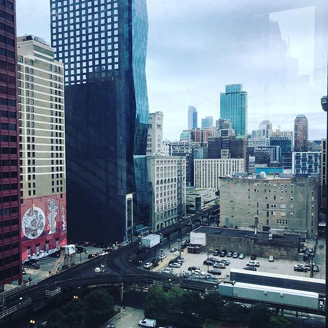 """What a view to work to. Working on my 3D math/linear algebra homework today. I take great pride in being a designer who likes to dive in """"under the hood"""". It's a lot of work to catch up on but I am excited for the knowledge applications it holds. #graduateschool #gamedesign #views #cityview #depaul #mathfordays #gamedev #knowledge"""