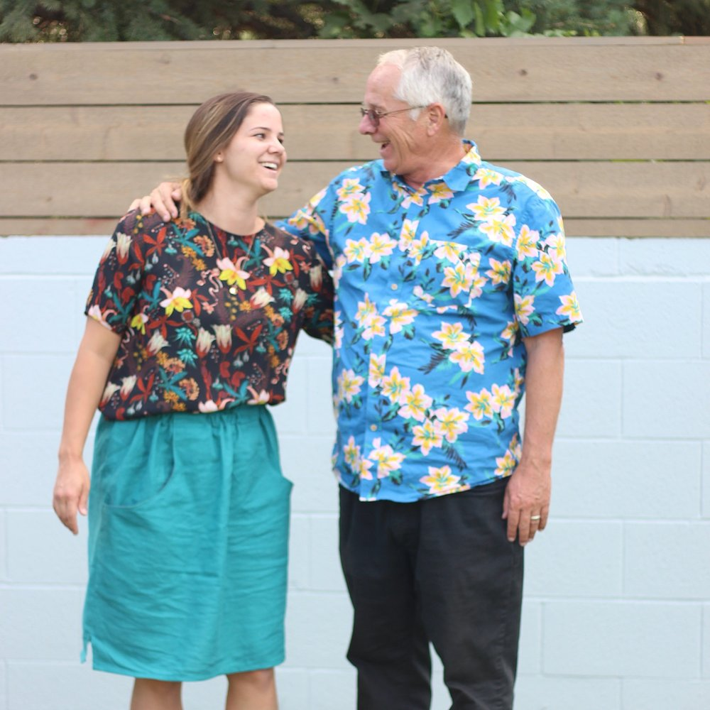 Me and My dad matchy-matchy with our bright-flowery shirts.
