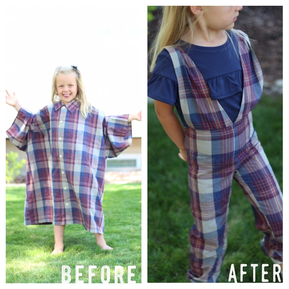 DIY before and after Vintage Overalls from Grandpa's Dress shirt with Mothermake.com