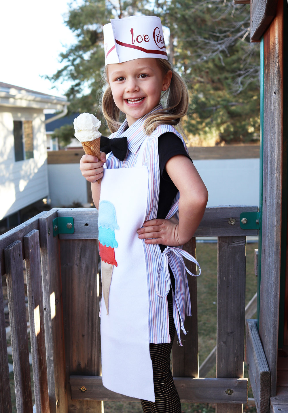 DIY Ice Cream Shop Dress-up from a men's dress shirt.