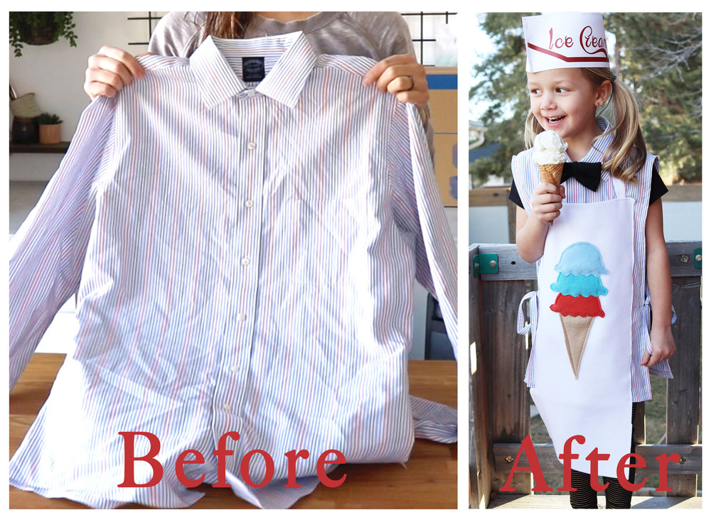 Before and After of a Men's dress shirt into a Ice Cream Shop dress-up