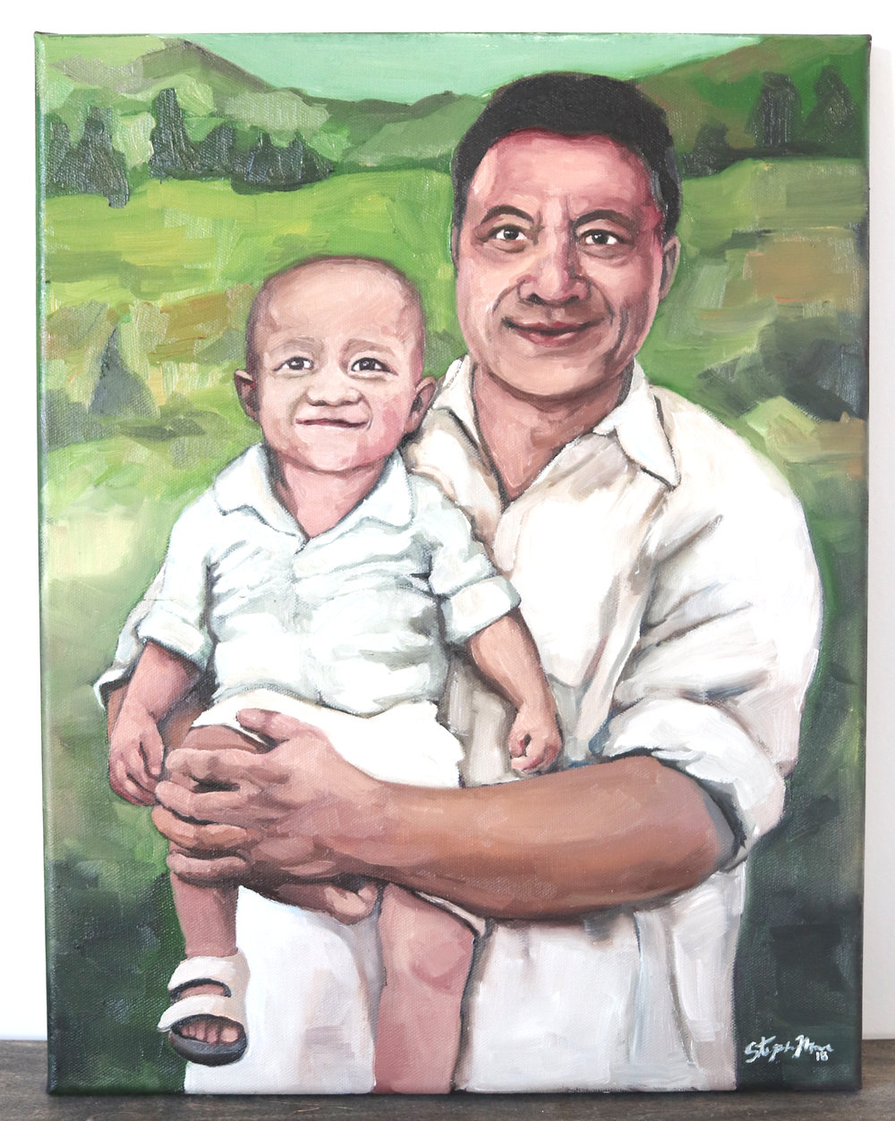Painting of Grandfather Tupule holding his grandson Kalai in Heaven.