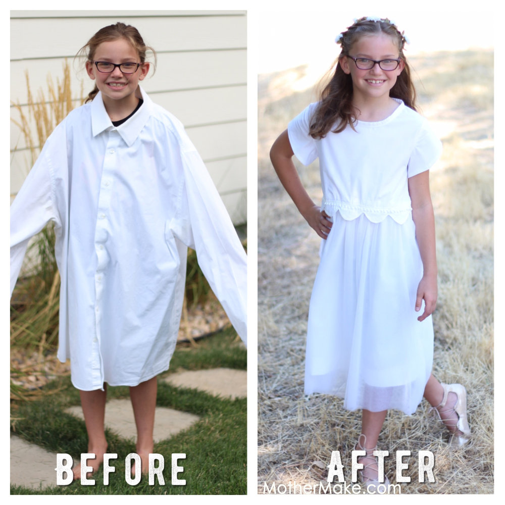 Take a Men's Dress shirt and Refashion it into a Baptism Dress