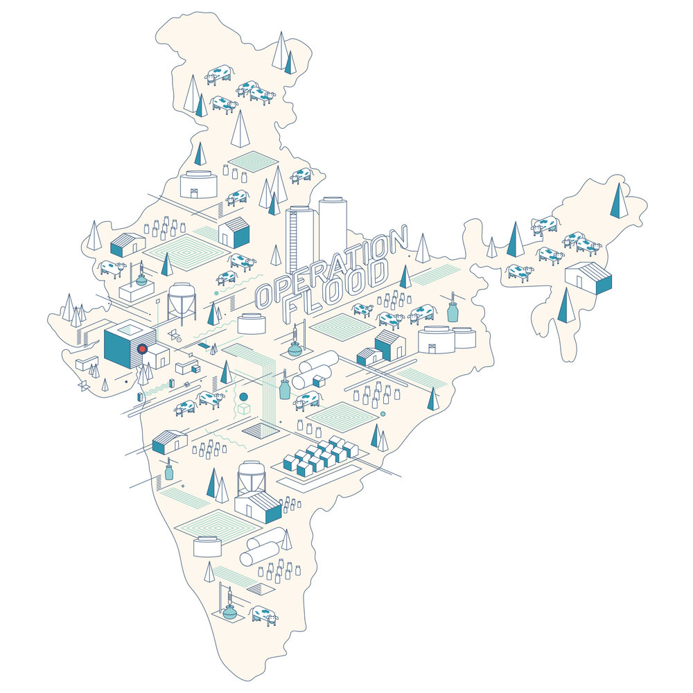 """1970 : """"Operation Flood: I propose the theme of Operation Flood or as commonly referred to as the White Revolution that was launched by the Government of India in 1970, that resulted in making our country the largest milk producer in the world. The brainchild of Verghese Kurien of AMUL, it was the largest dairy development programme in the world which involved creating a national milk grid across the country. By linking rural supply to urban demand through co-operatives, it cut down the middlemen and ensured that the dairy farmers benefited. It is an important economic achievement in post-independent history and holds potential for illustration and style exploration."""" ~ Ameya Narvankar"""