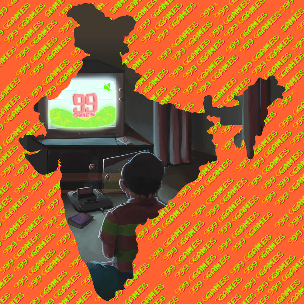 """1998 : """"1998 was the year gaming consoles were introduced in India. With the Sega Genesis making it's entry into this subcontinent, years after the west. This marked the beginning of one of the most fastest growing gaming communities of the world.  My theme will be technological revolution the 1998 gave rise to; focused on video games. This would be set in an Indian household setting and would express youthfulness and the mood this new gadget had got to the household."""" ~ Jayesh Joshi"""