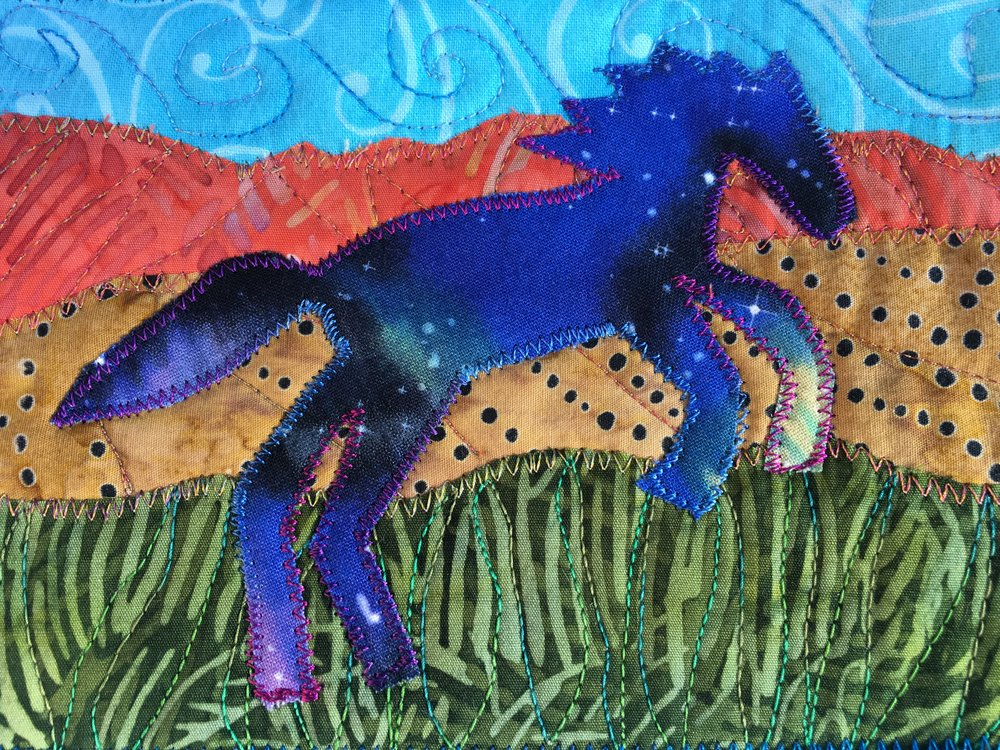 This amazing mini fiber art was donated to our fundraiser by Ginny Goodbar, Phoenix AZ.