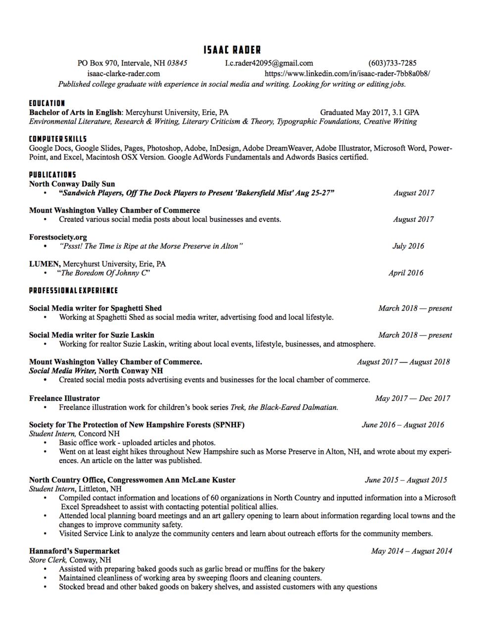 Resume — Isaac Clarke Rader