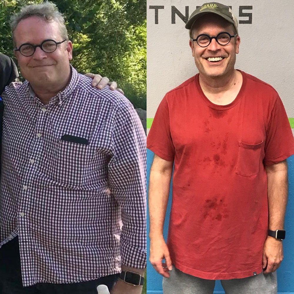 Tom lost 16 pounds and 3% body fat in only 3 months! - Images left to right: May '18, August '18