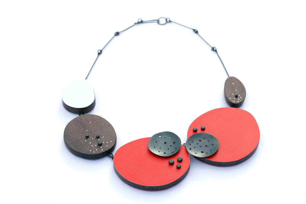 Red asymmetrical necklace, 2015