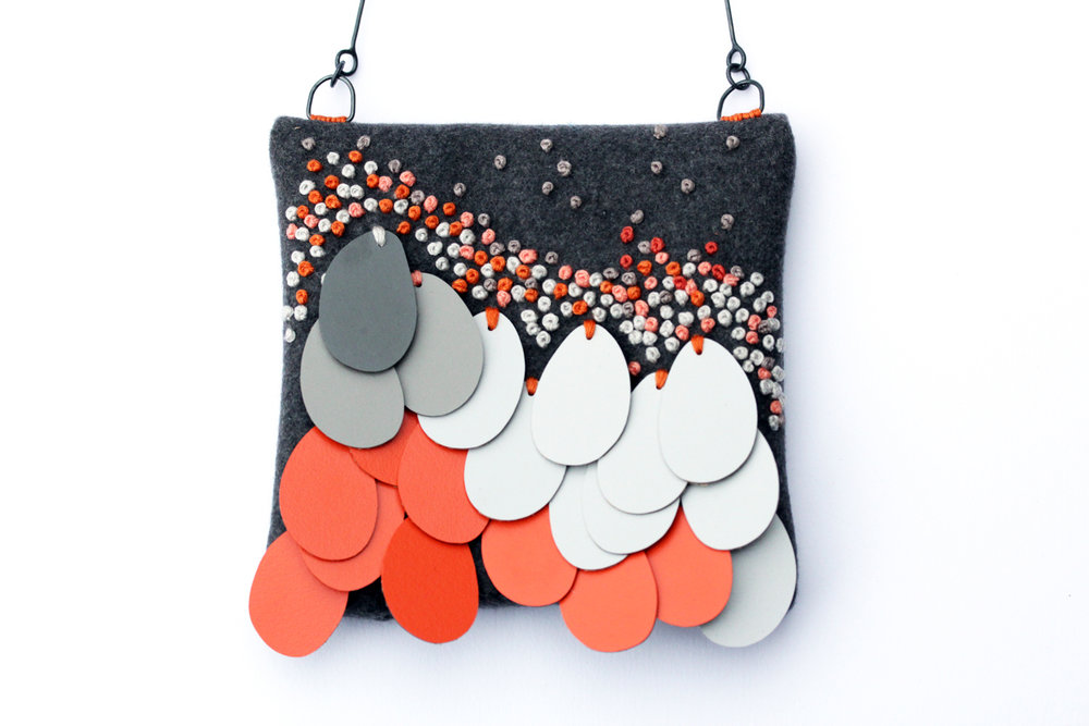 Orange and grey necklace, 2014