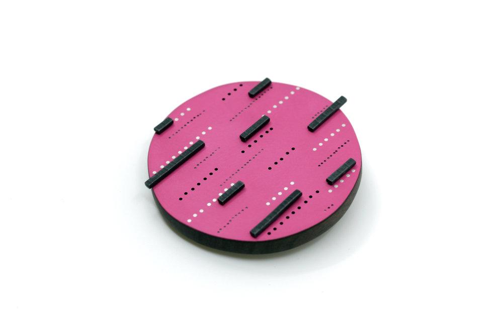 Bright pink line brooch