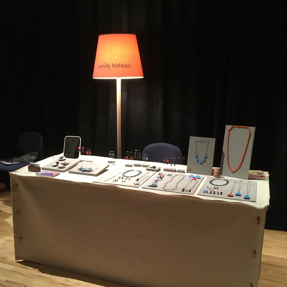 My stand at Lustre - the show is in multiple rooms across two buildings and I was in the theatre - a little darker than expected!
