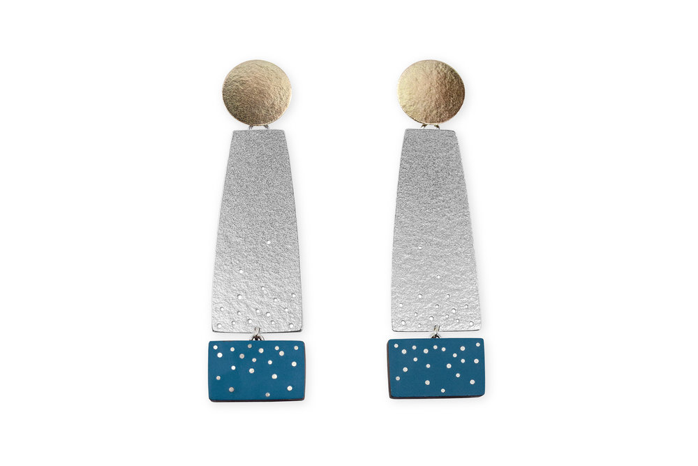 Teal earrings, 2019