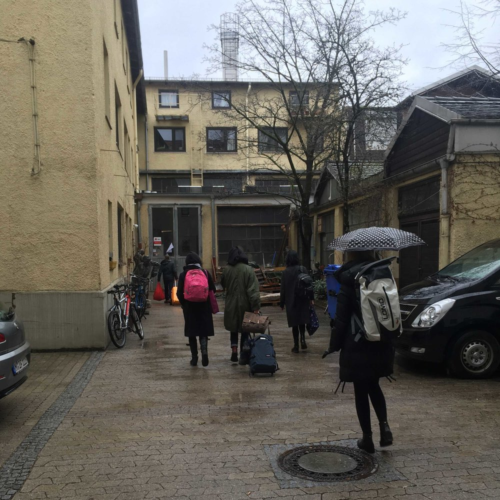 Arriving at the foundry in the rain on Friday