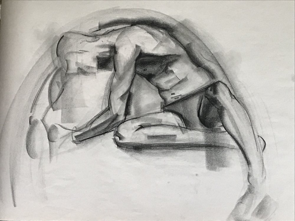 Anne Hart: Charcoal on Newsprint