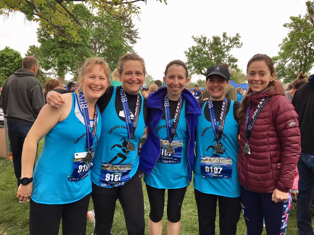 The fantastic female faculty team at the Colfax marathon - 2nd place!! 2018