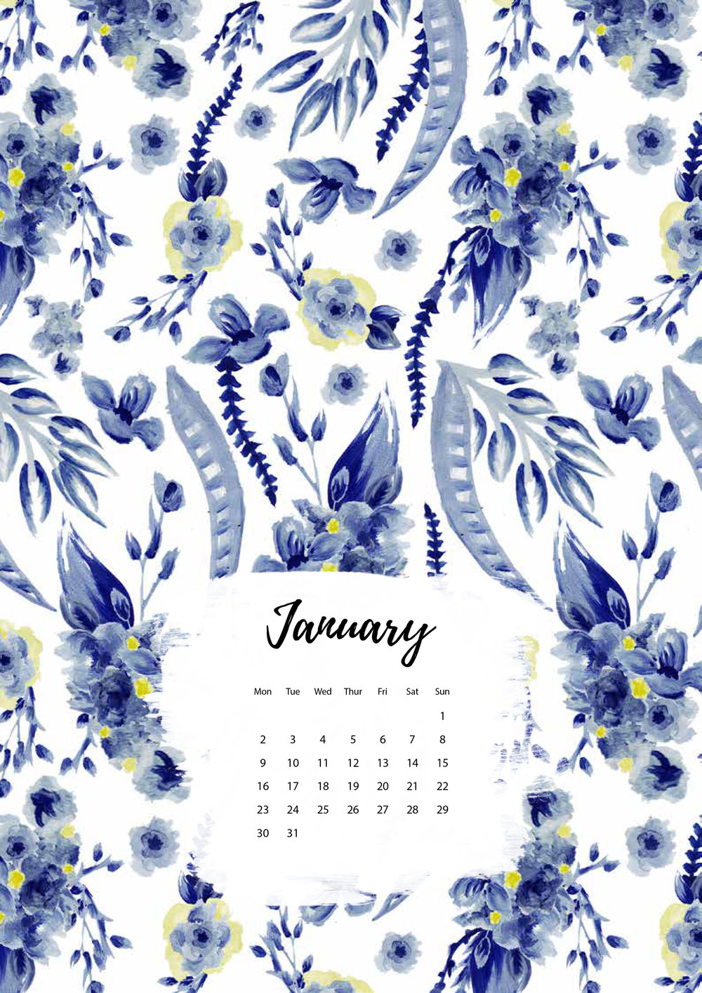 Felicity & Ink | Free Printable Calendar | January 2017-1.jpg