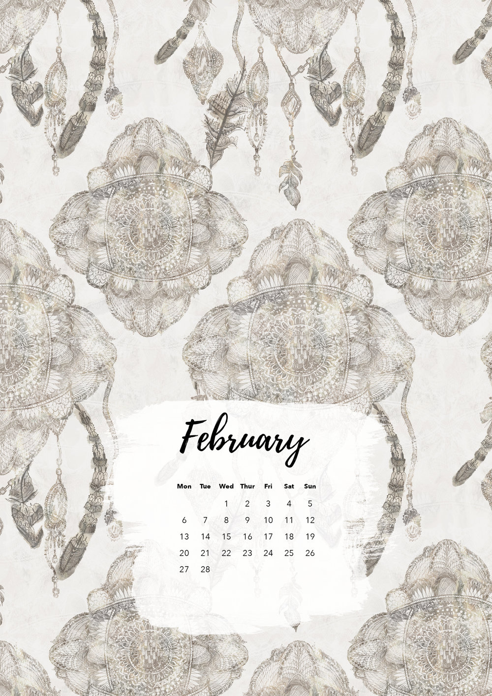Felicity & Ink | Free Printable Calendar | February 2017 | Dreamcatcher.jpg