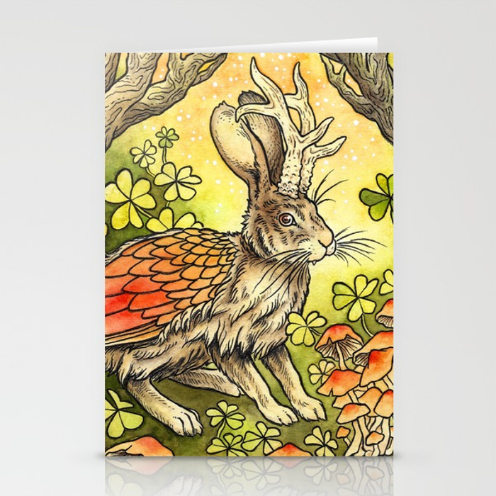 winged-jackalope-in-summer-plumage-cards.jpg