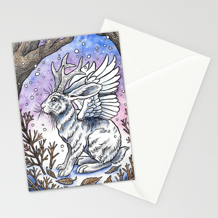 winged-jackalope-in-winter-plumage-cards.jpg