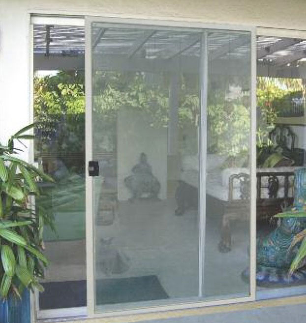 New sliding patio screen door on a back patio.