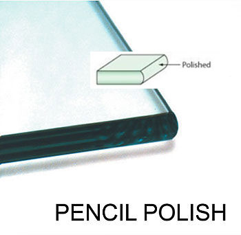 An example of Pencil Polish edge-work on a glass shelf, this finish can also be used on glass tabletops!