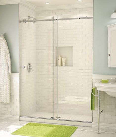 """A 3/8"""" thick sliding frameless shower enclosure with a brushed stainless square overhead bar."""