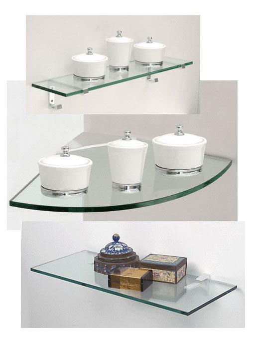"Examples of glass shelves with 1/4"" Clear glass and 3/8"" Clear glass."