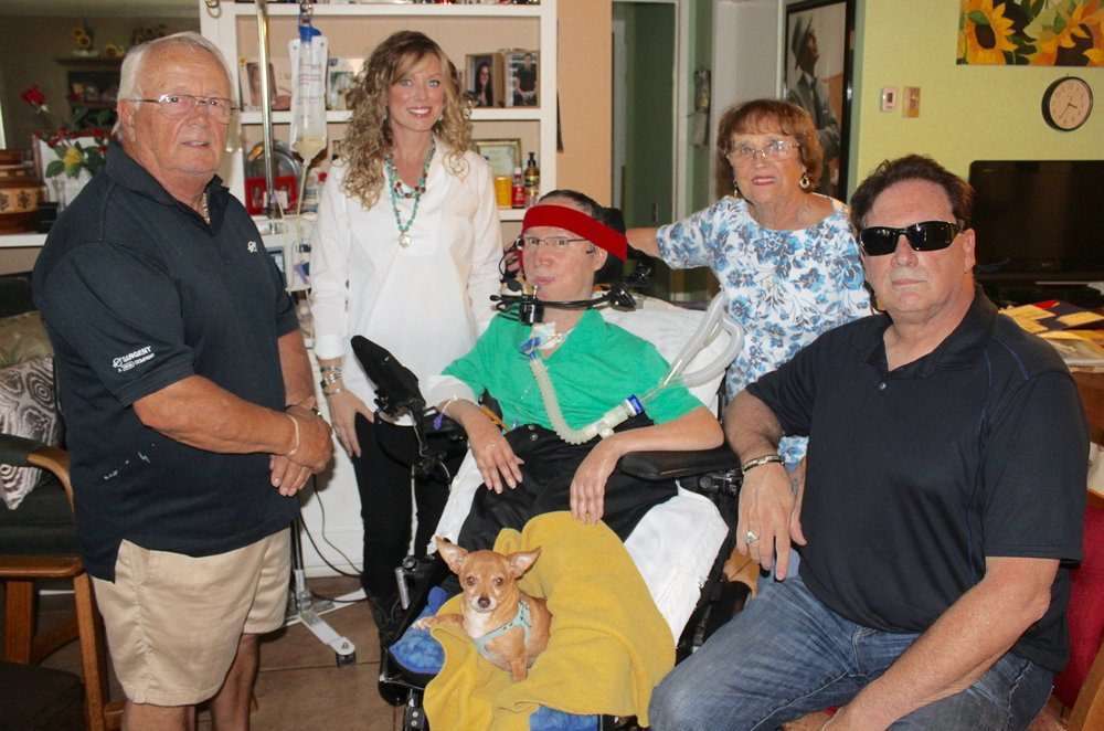 LAGUNA WOODS - Left to right, John Lombardo Sr., Keira Dux, John Lombardo Jr., Carol Lombardo, and World Heavyweight fight champion Frank Dux. Dux came at the request of his friend, Gordon Richiusa (Director of Heroes' Hearts® Inc.) to fulfill a request by the Lombardo family.